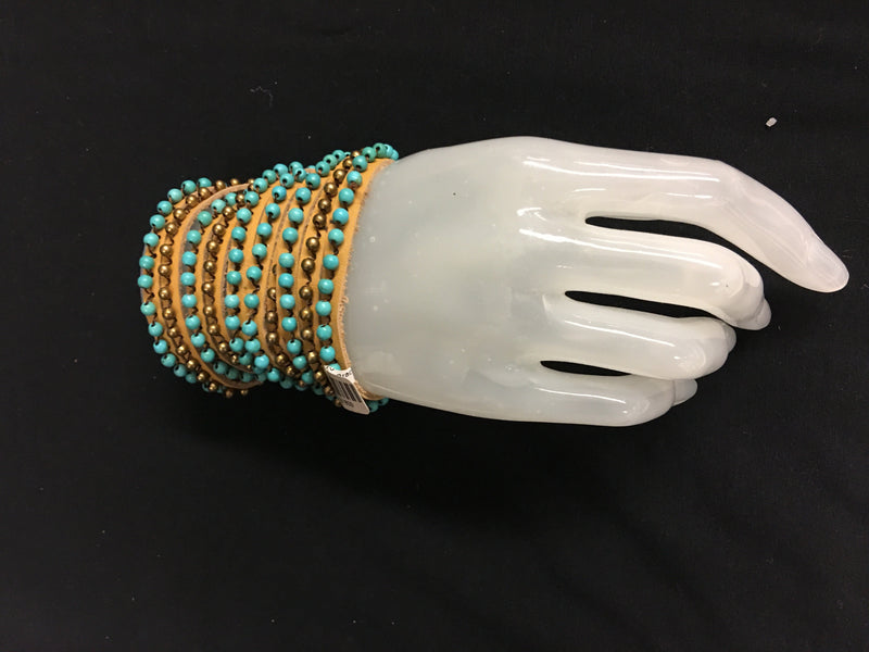 Bali Queen Five Strand Leather Wrap Bracelet Tan/Turquoise