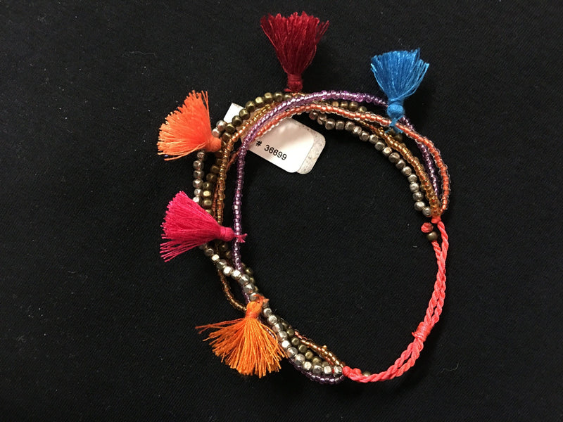 Bali Queen Multi Strand Beaded Tassel Bracelet