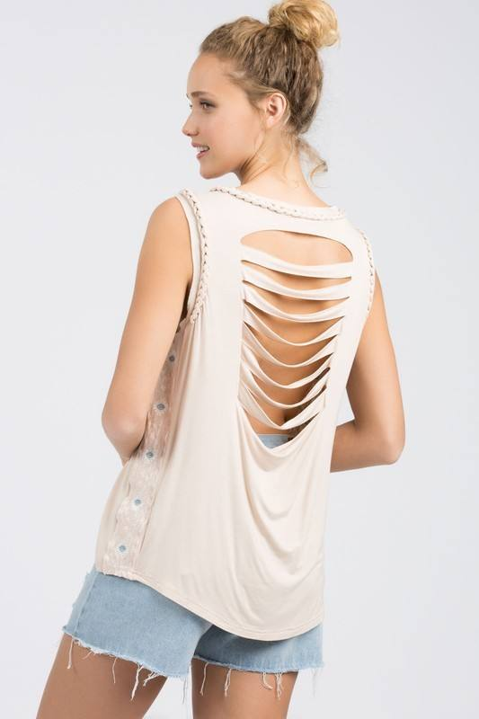 Final Sale POL Braided Laser Cut Embroidered Top TKT37