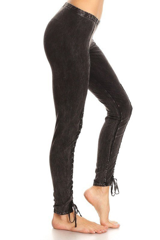 T-Party Mineral Wash Lace Up Legging CJ74256