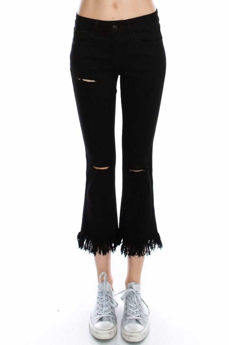 Mono B Mid Rise Fringe Bottom Jeans DP5261