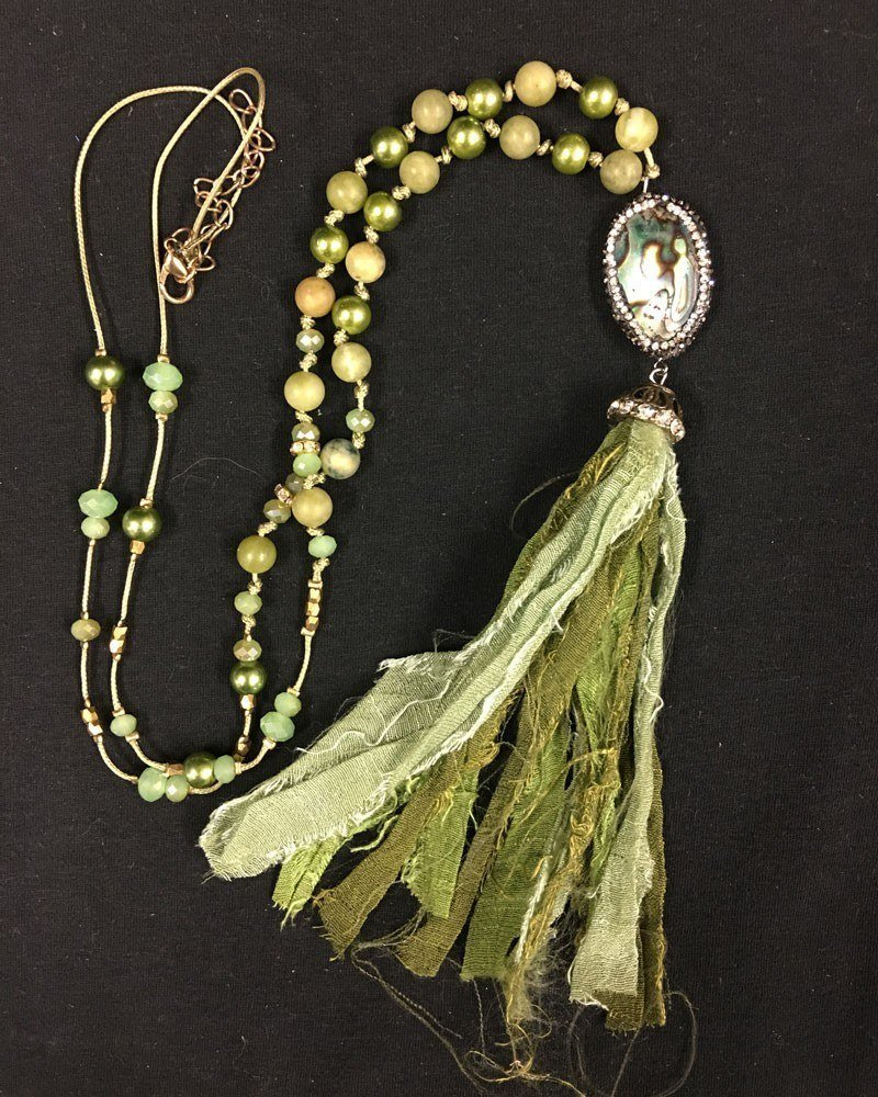 Shabby Chic Abalone Fabric Tassel Necklace