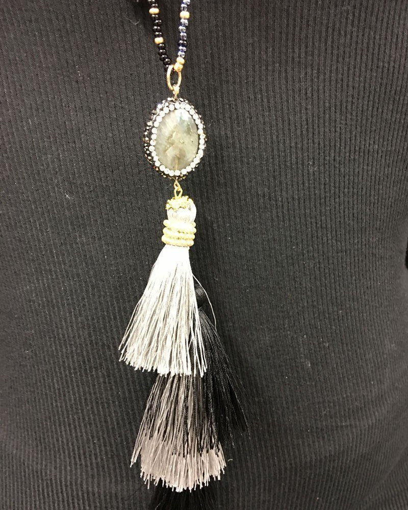 Hand Strung beaded Tassel Necklace