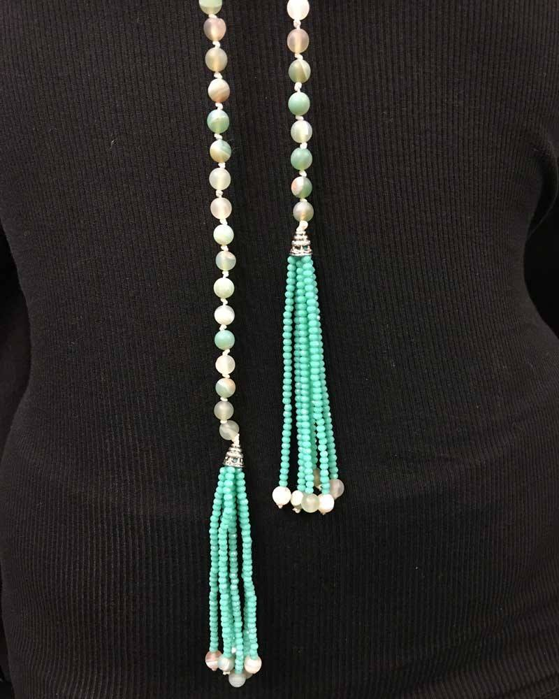 Hand Knotted Amazonite Tassel Lariat Necklace
