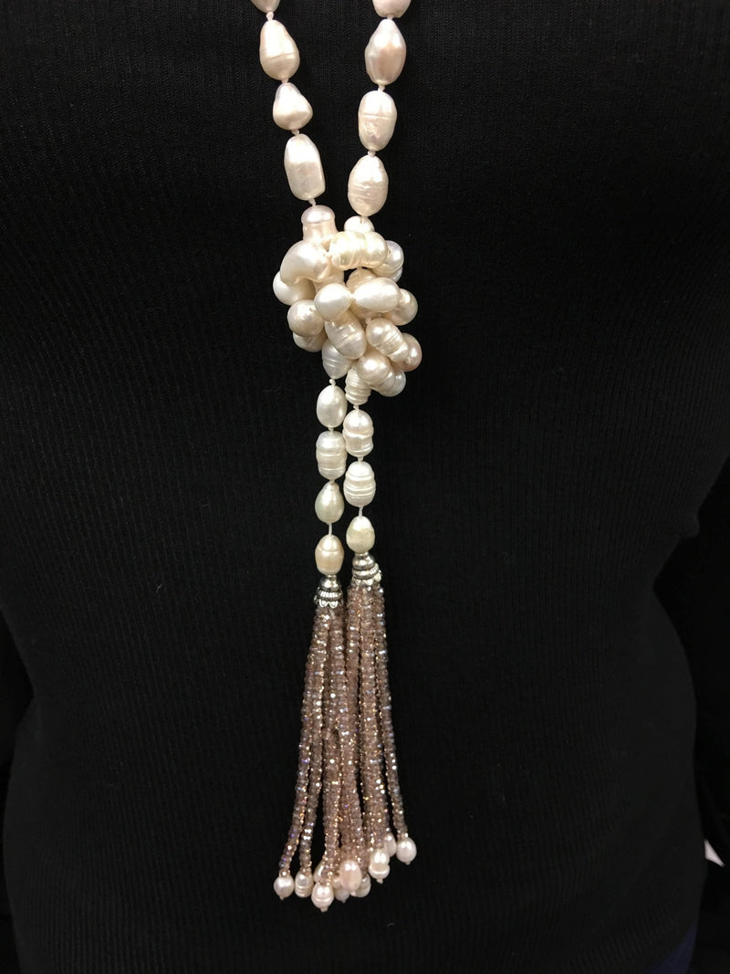 Fresh Water Pearl Tassel Lariat Necklace