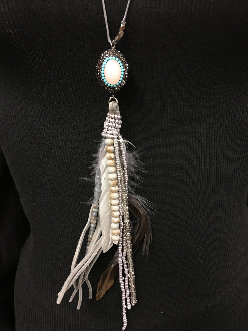 BoHo Chic Feather Tassel Necklace