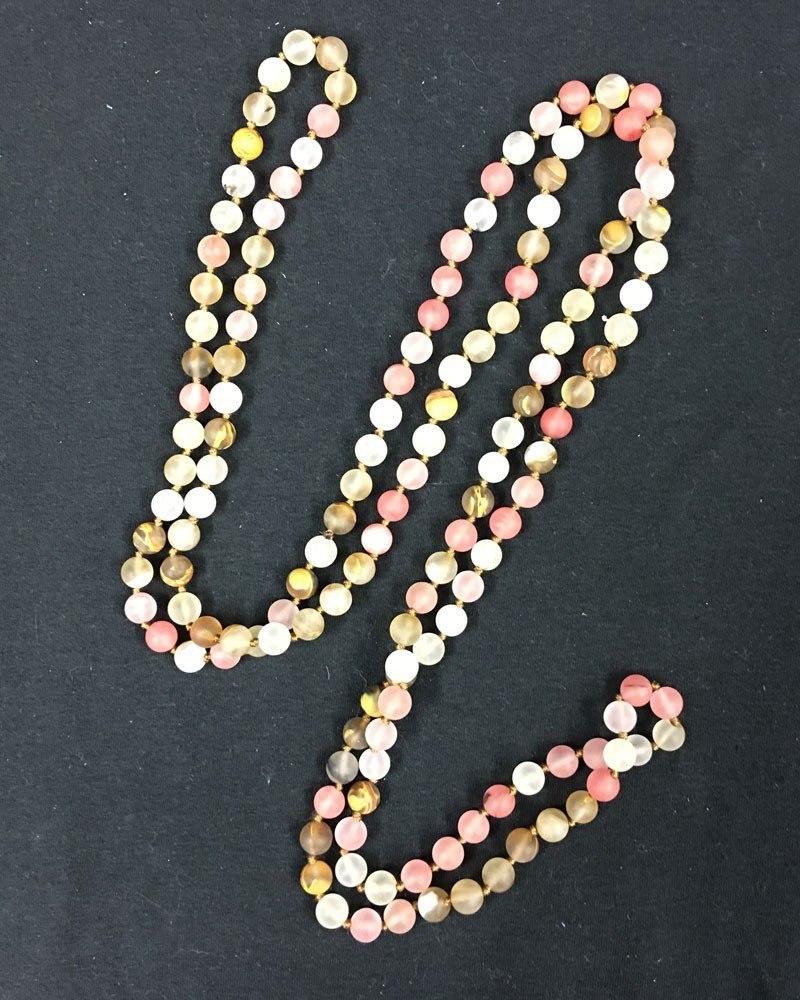 Extra Long Hand Knotted Rose Colored Natural Stone Beaded Necklace