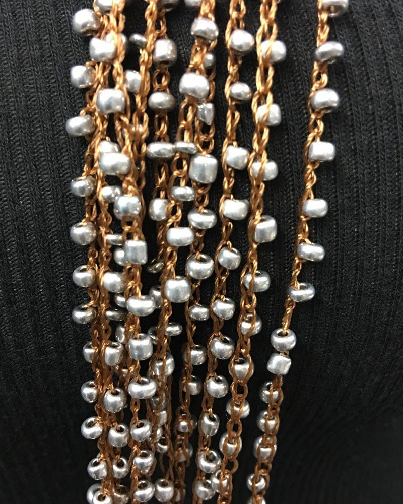 Multi Strand Beaded Necklace Silver Beads