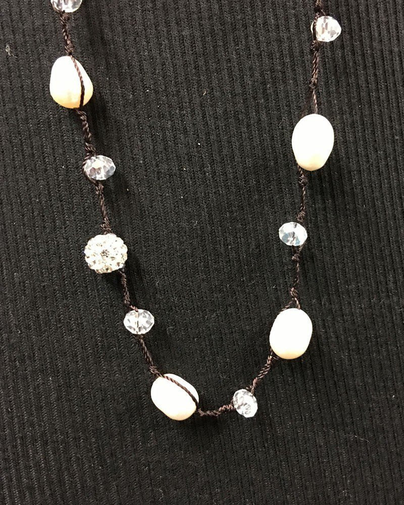 Crochet Pearl Necklace with Rhinestones and Crystals