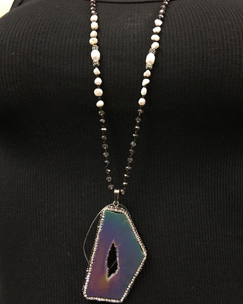 Rainbow Titanium Druzy Necklace with smokey crystals and pearls