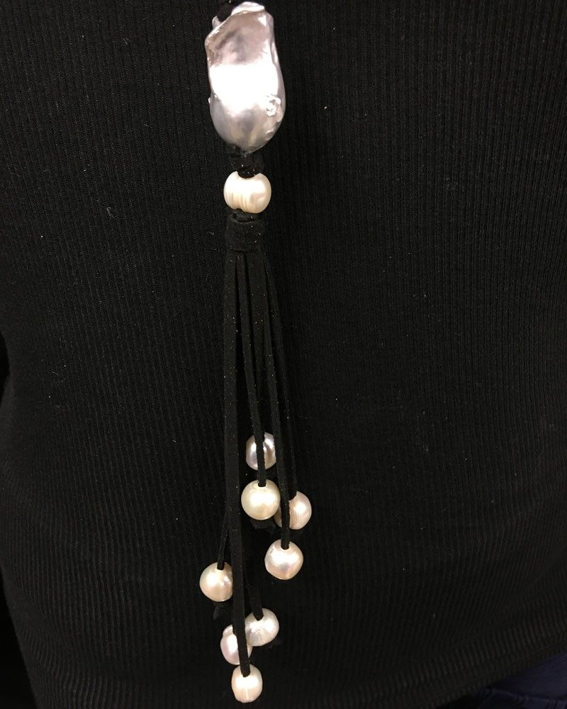 Chunky Baroque Pearl and Leather Tassel Necklace Black