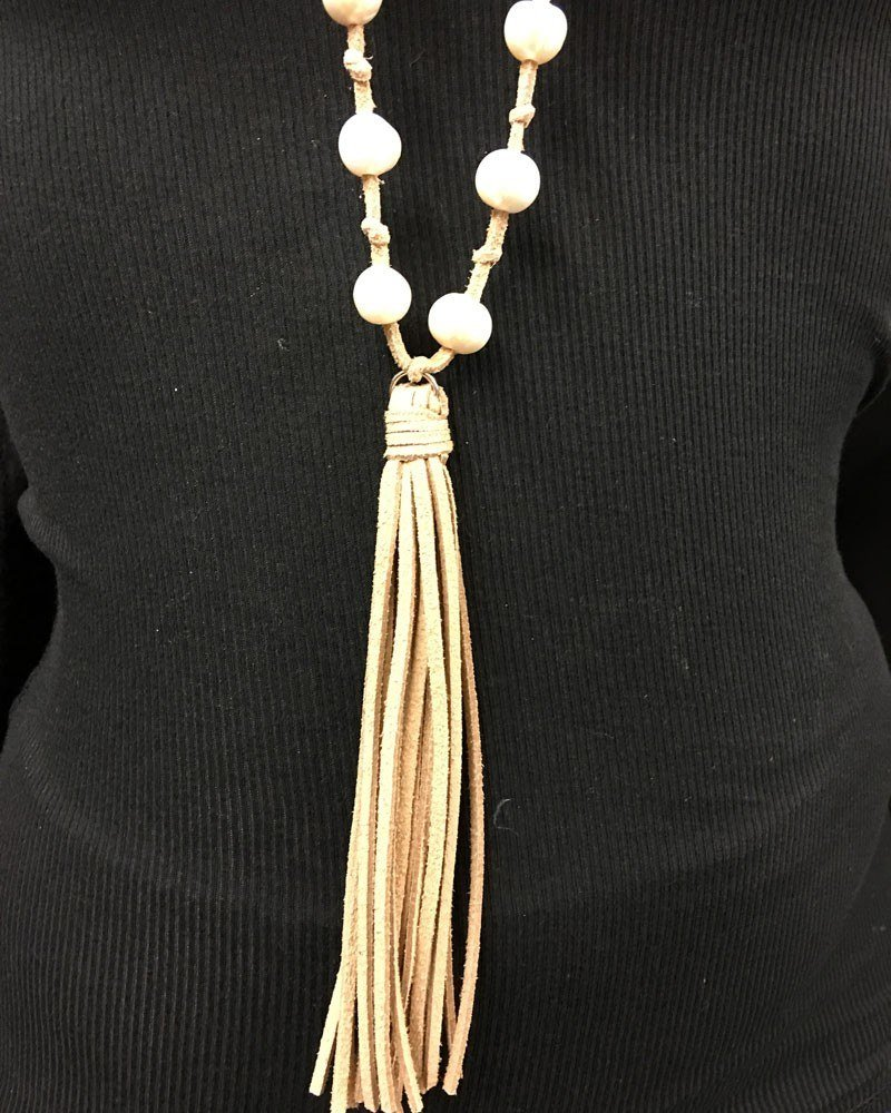Leather and Knotted Freshwater Pearls and Tassel Necklace Tan