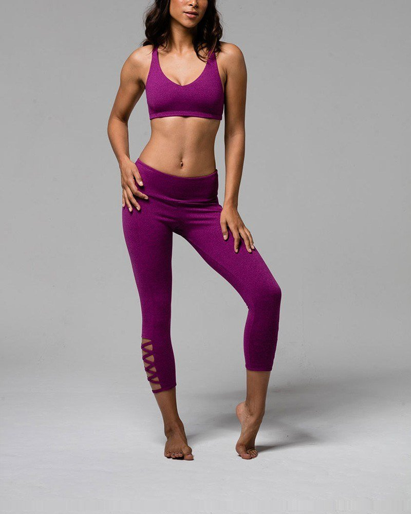 Onzie Hot Yoga Weave Capri 289 - Magenta - front view