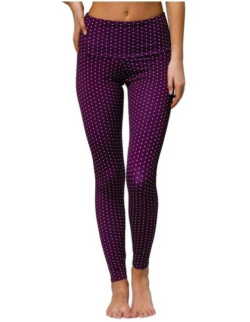 Onzie Hot Yoga High Rise Legging 228 Aubergine Dot