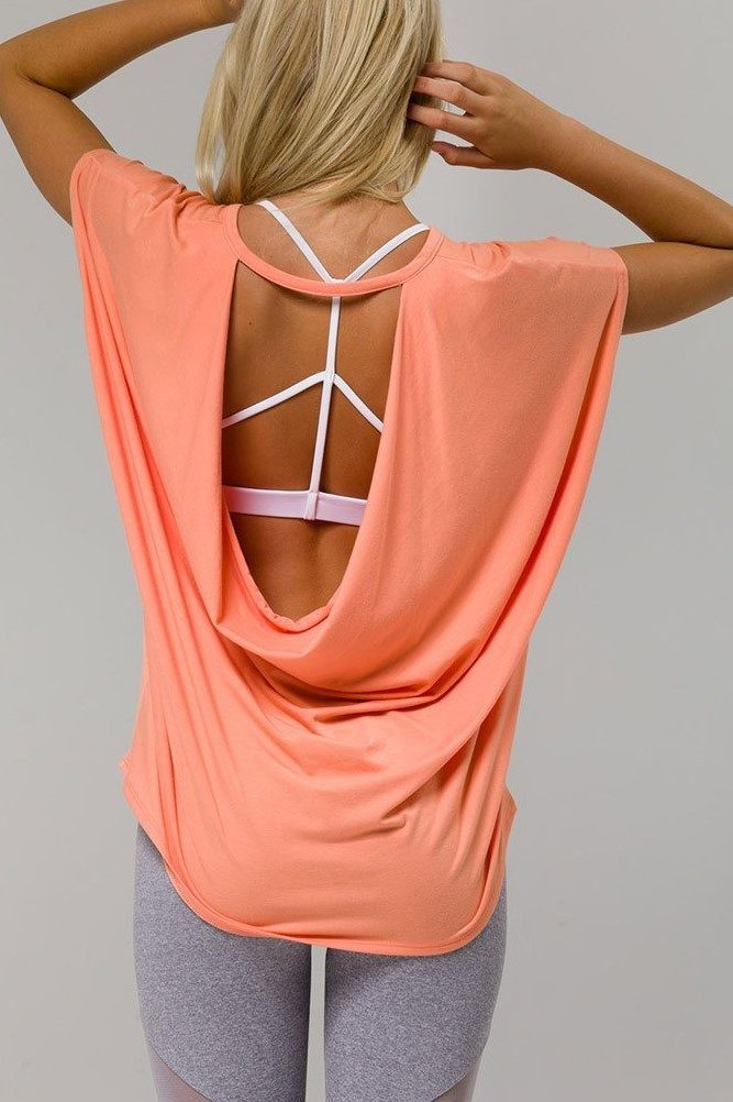 Onzie Hot Yoga Wear Drop Back Top 3056 - Peach - rear view