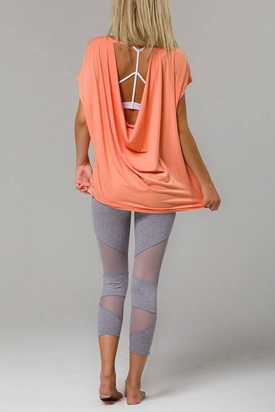 Onzie Hot Yoga Wear Drop Back Top 3056 - Peach - rear alt view