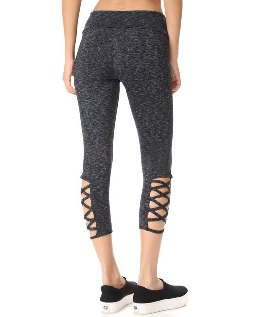 Onzie Hot Yoga Weave Capri 289 - Charcoal Heathered - rear view