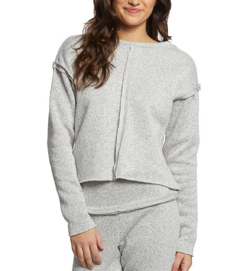 Final Sale! Onzie Hot Yoga Raw Seam Crew Neck Sweatshirt 3127 Heather