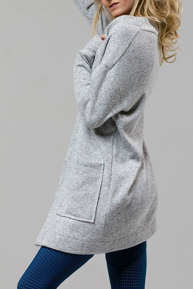 Final Sale! Onzie Hot Yoga Raw Seam Fleece Long Cardigan 3130 Heather