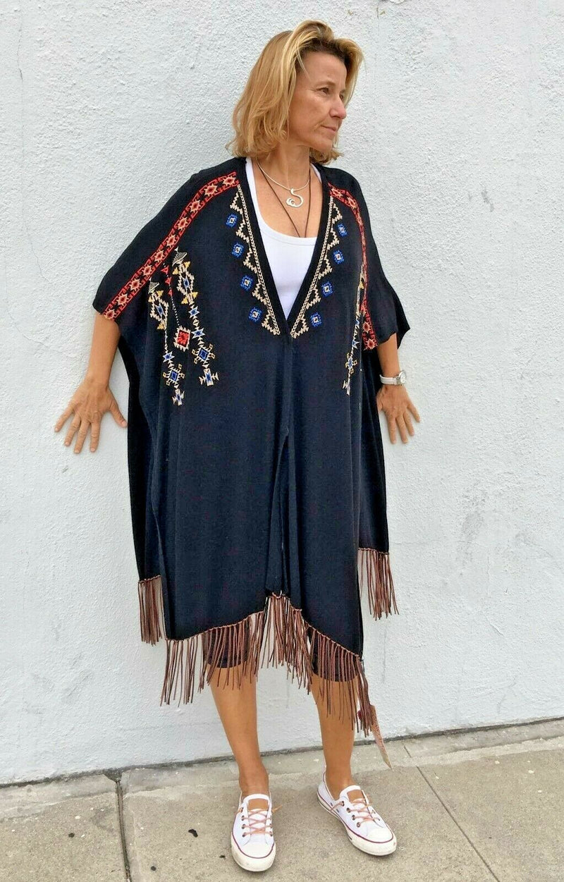 Johnny Was Love Sweater Poncho Suede Fringe