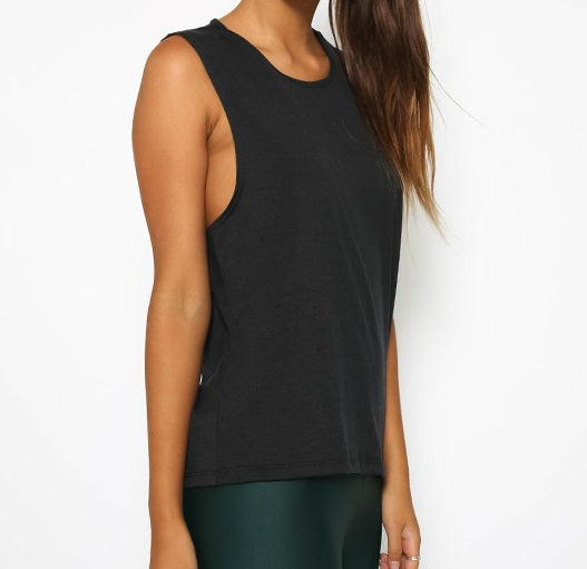 onzie hot yoga black twist back top 3602 - front view