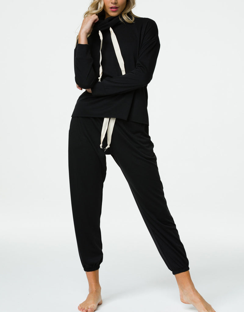 Final Sale! Onzie Yoga New Cowl Neck Top 3749 Black