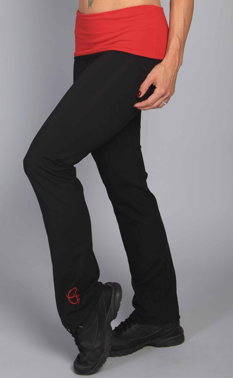 Final Sale Equilibrium Activewear Roll Down Daisy Pant Red LP298