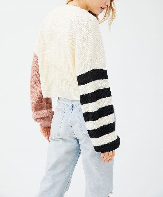 TMD Ivory/Rose Piper Balloon Sleeve Cardigan