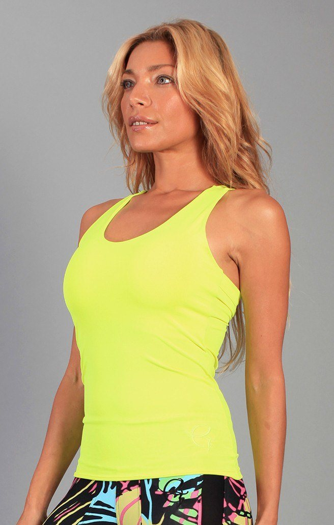 Final Sale! Equilibrium Activewear Lucky Tie Top LT129 Neon Yellow