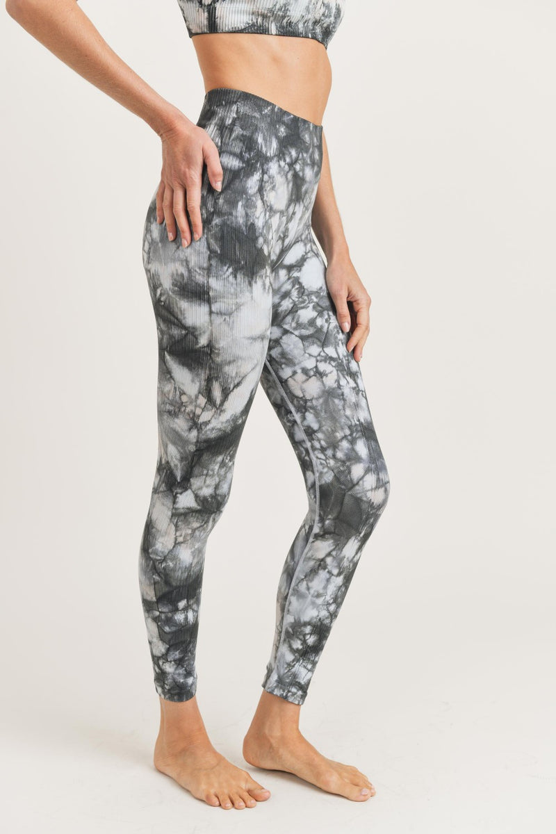 Mono B Glass Tie Dye Seamless Ribbed Legging APH3002