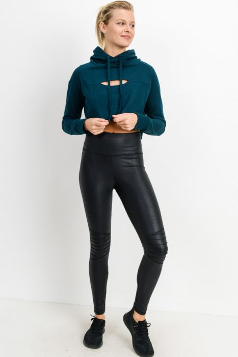 Moto Ribbed-Knee Highwaist Foil Leggings APH6201