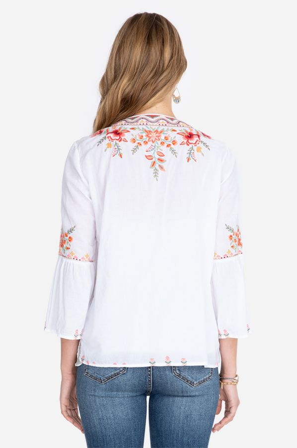 Johnny Was Alise Flair Sleeve Boho Blouse
