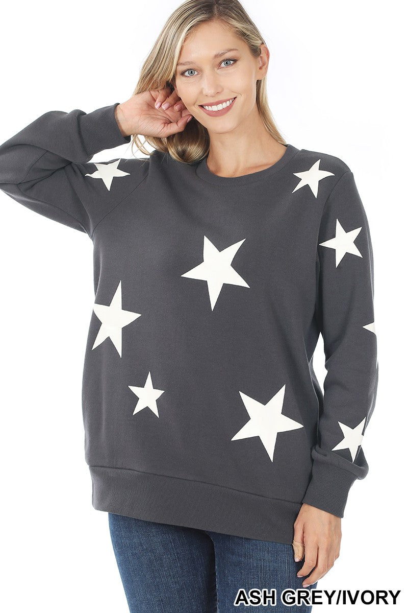 OT-35026 Zenana Star Pattern Sweatshirt