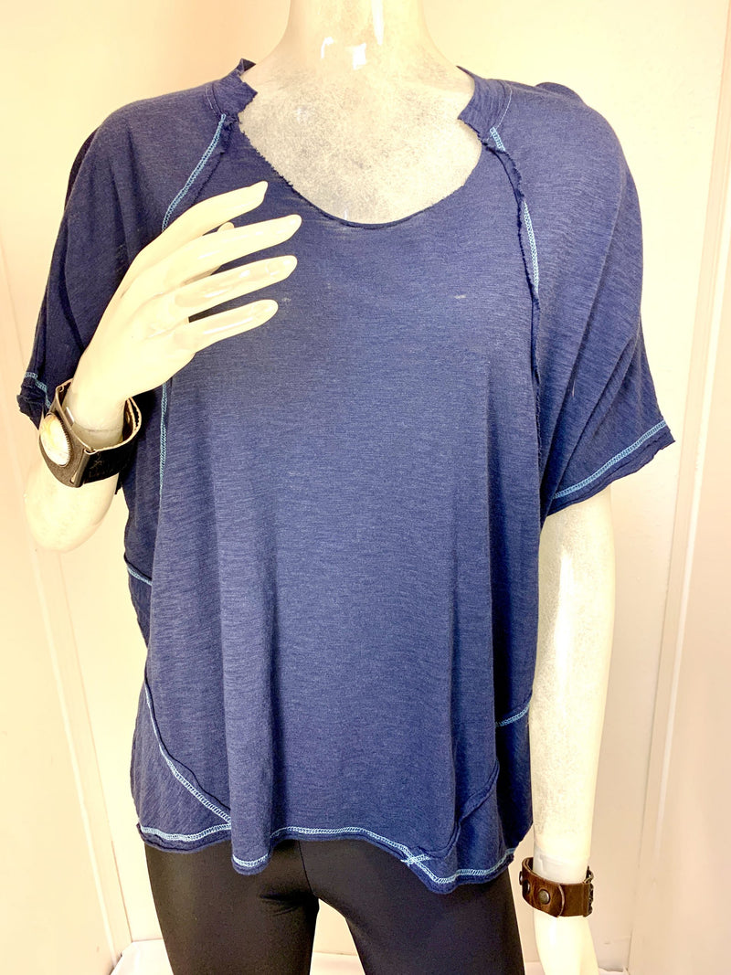 TLA Oversized Topstitched Tee with Cut Neck Navy