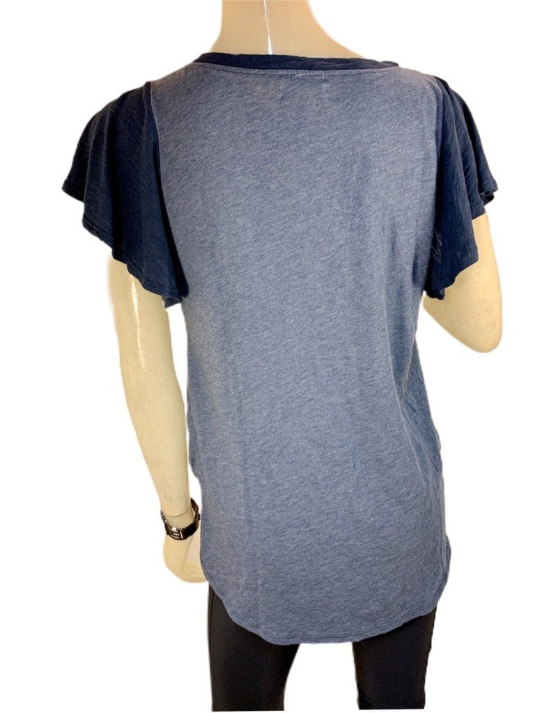 TLA Two Toned Tee With Flutter Sleeve Navy