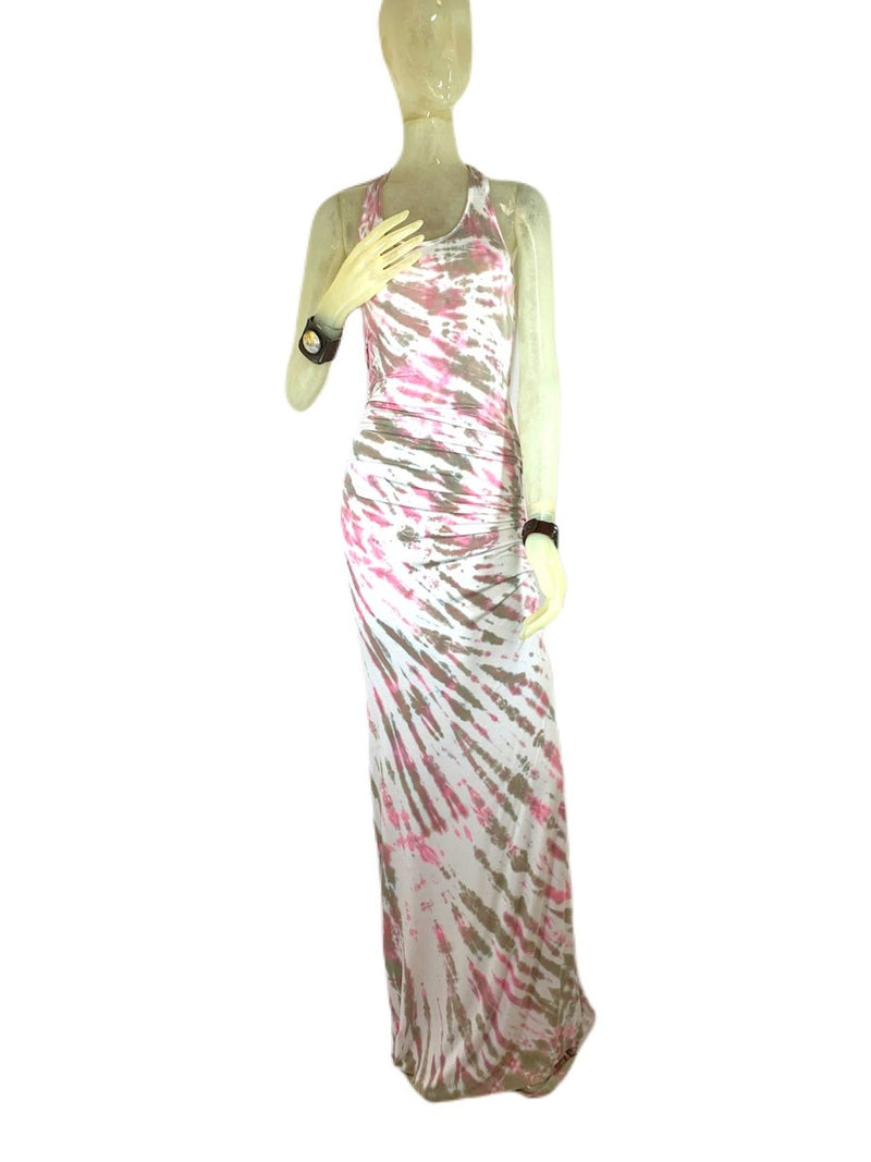 E-Motions Ruched Side Tie Dye Maxi Dress Pink Tan Tiger TD