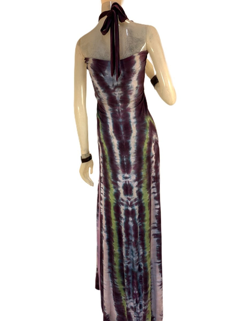 E-Motions Halter Maxi Dress Black Purple Tie Dye