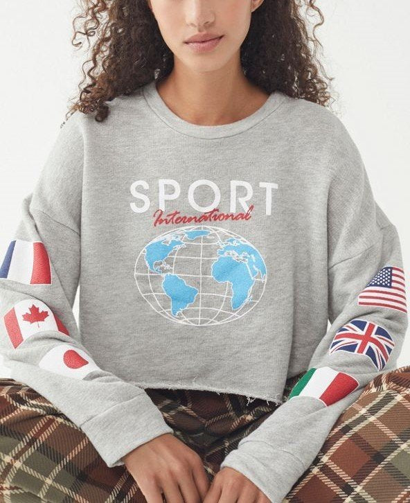 Final Sale! Truly, Madly Deeply Cropped Sports Sweatshirt