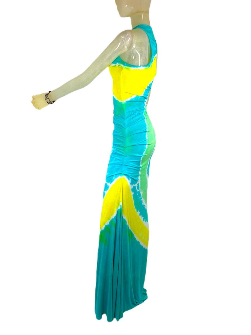 E-Motions Ruched Side Tie Dye Maxi Dress Aqua Yellow TD