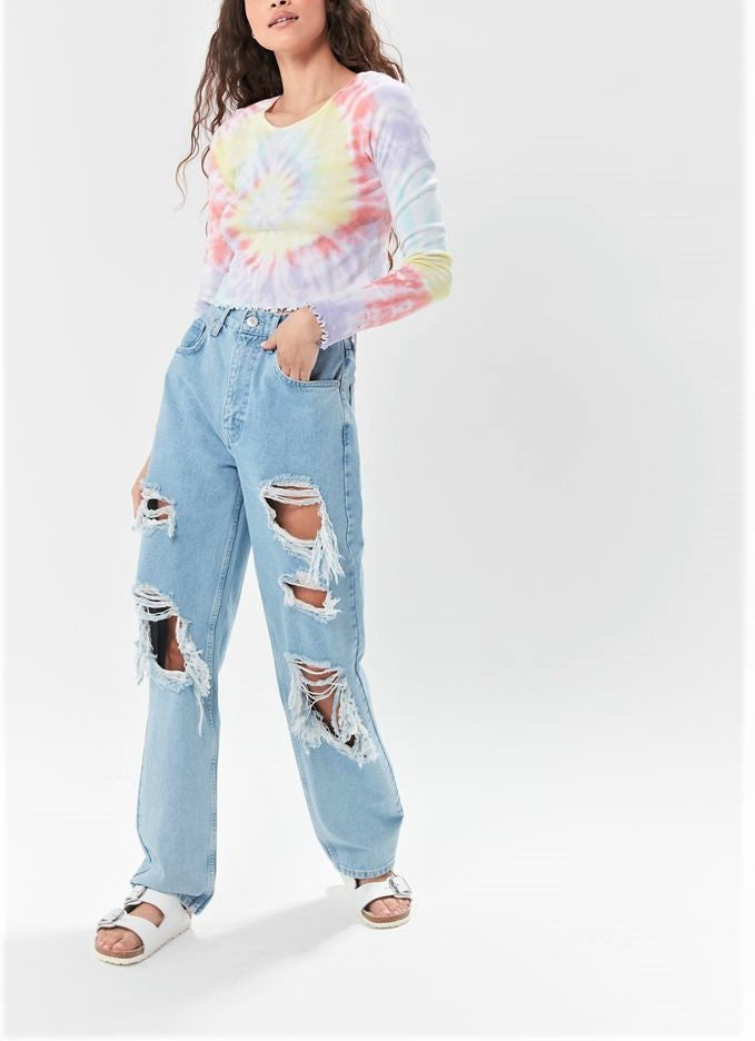 TMD Tie Dye Floral Long Sleeve Crop