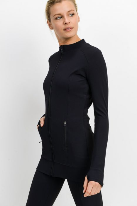 Mono B Longline Ribbed Jacket AJ2453 Black