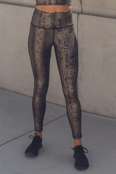 Mono B Copper Snake Shimmer Highwaisted Leggings APH2493