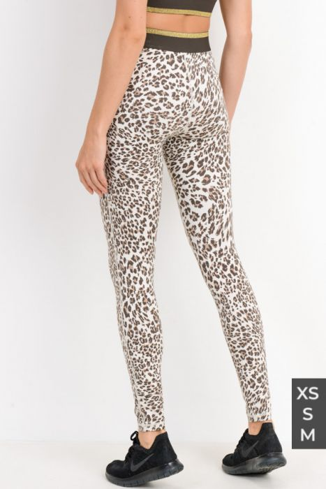 Snow Jaguar Gold Stripe Band Leggings APH2495