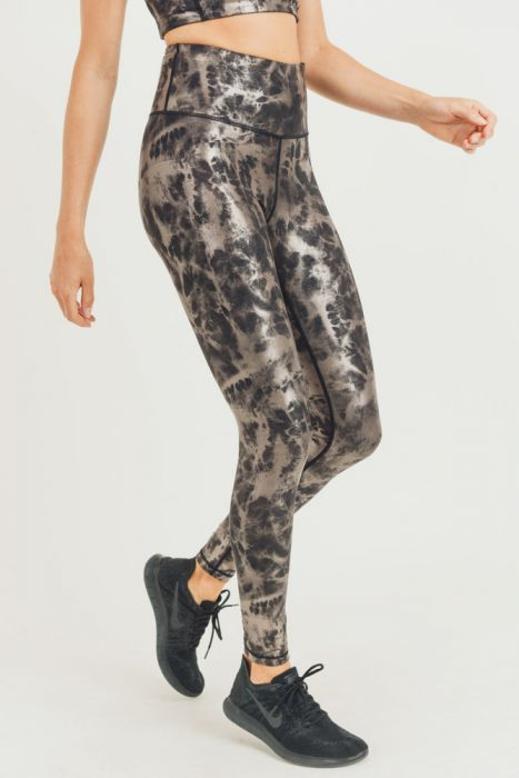 Mono B Metallic Foil Printed High-Waist Leggings APH2873