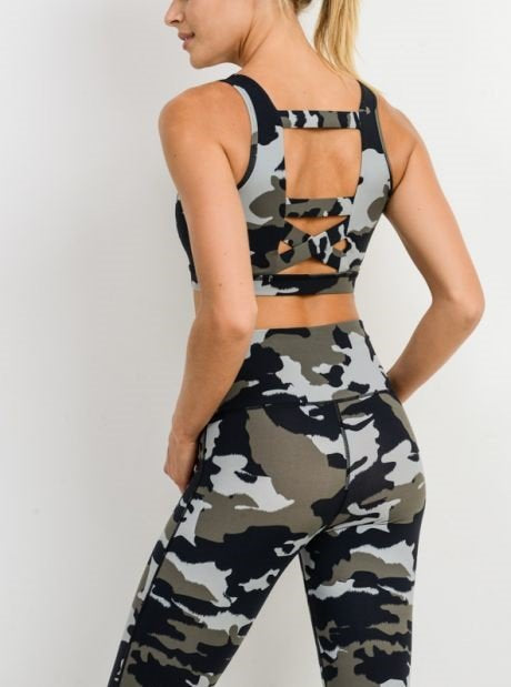 Mono B Jungle Camo Criss Cross Bra AT2627