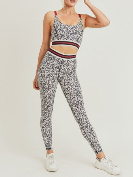 Snow Leopard Striped Band Highwaist Leggings APH2820