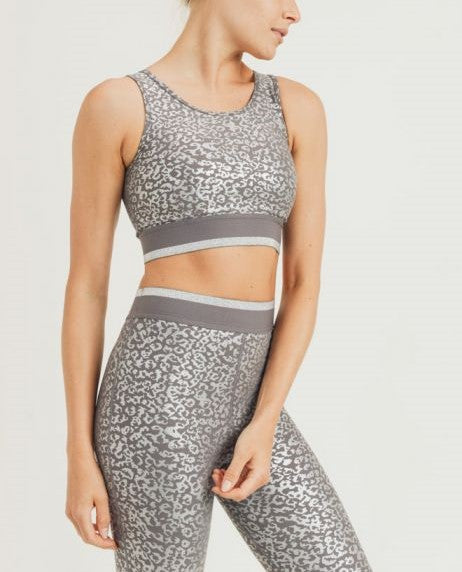 Mono B Silver Foil Leopard Sports Bra AT2848