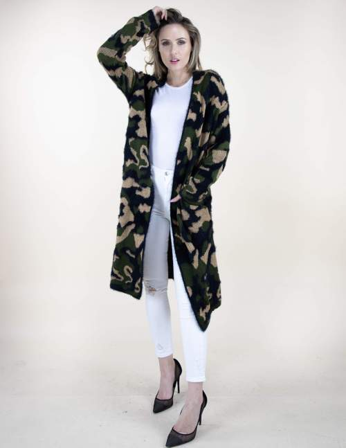 Very Moda Long Eyelash Cardigan Sweater Camouflage