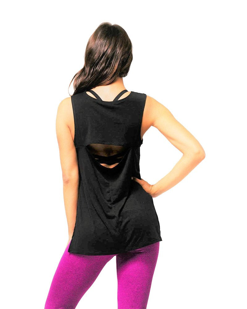 Final Sale! Onzie Hot Yoga Open Back Top 3059 Black