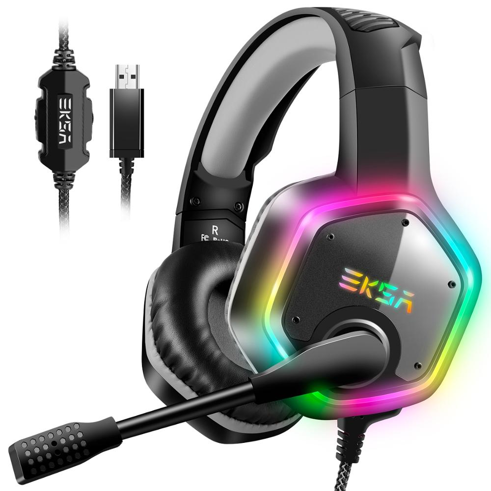 RGB Gaming Headset with Surround Sound and Noise Cancelling Mic
